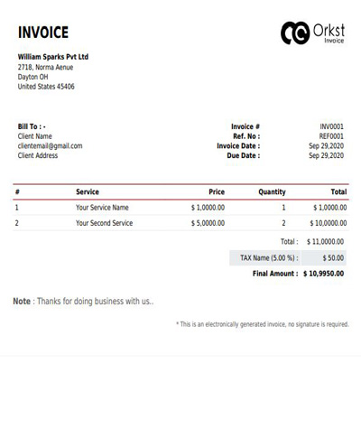 Generate Free Invoice Template Online Create Invoice Online